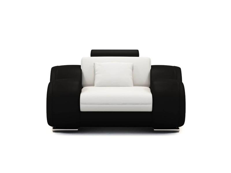 Dydda - fauteuil relax en cuir blanc et noir