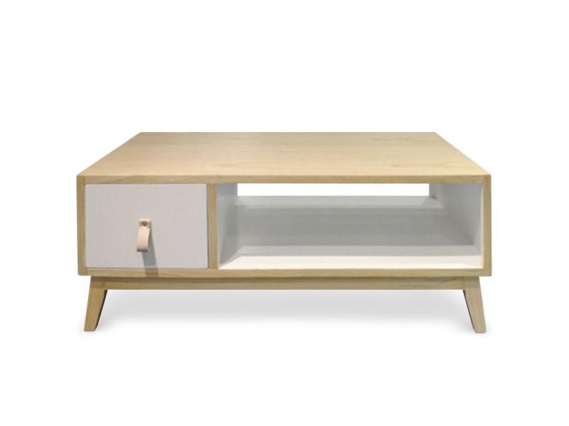Table basse avec tiroir style scandinave fjord blanc