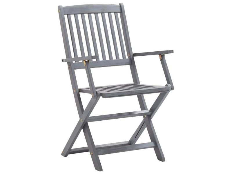Icaverne - chaises de jardin famille chaises pliables d'extérieur 2 pcs bois d'acacia solide