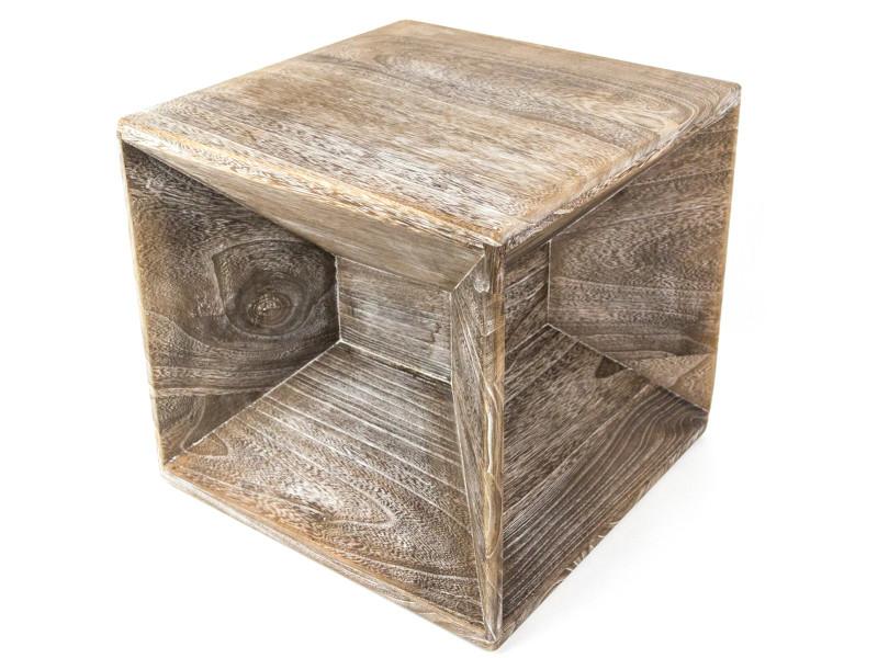 Table d'appoint cube en bois gris mat brut - dim : dim : 38 x 40 x 40cm - pegane -