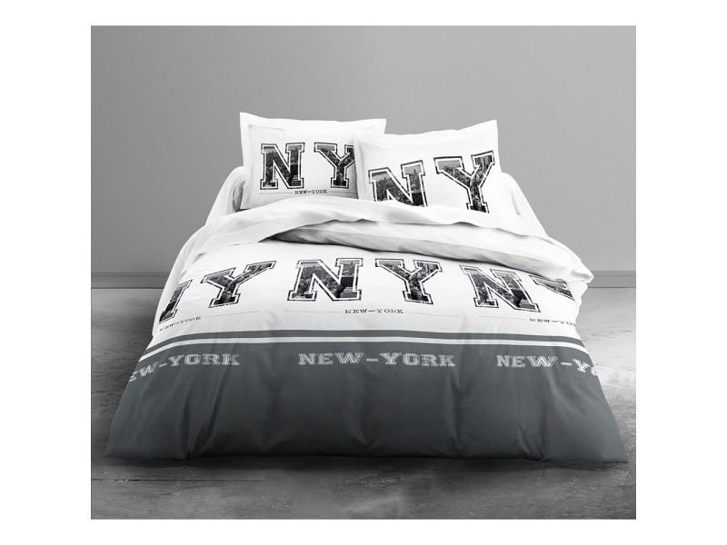 housse de couette new york grey 220x240 2 taies vente de les douces nuits de mae conforama. Black Bedroom Furniture Sets. Home Design Ideas