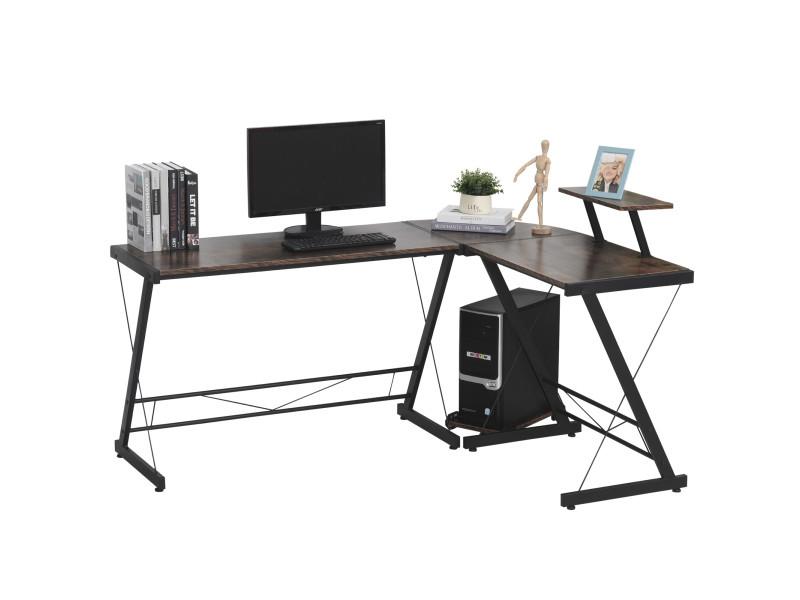 Bureau informatique design industriel bureau d'angle 2 tablettes support cpu imprimante mdf aspect vieux bois métal noir