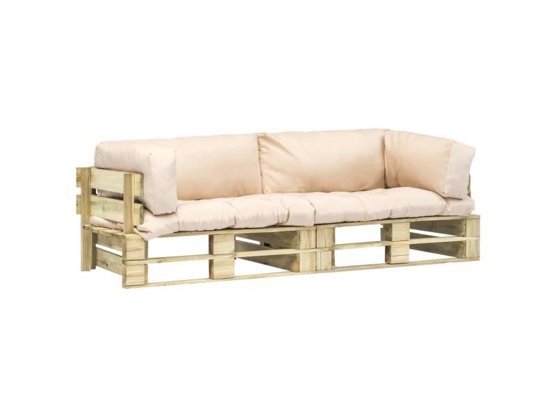 Inedit sièges d'extérieur edition andorre-la-vieille canapés de jardin palette 2 pcs coussins sable bois fsc