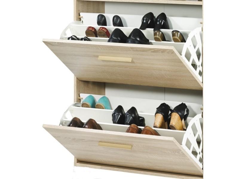 Meuble à chaussures chêne - coloris rideau: rideau blanc