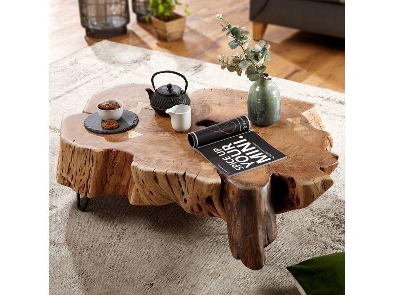 Marron Tronc Basse Rustique D'arbre Table Et Massif En Bois Acacia Nm0O8nvw
