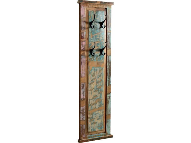 Panneau mural pour porte manteaux en bois recyclé 35x110 cm avec 4
