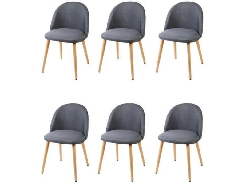 Chaise macaron lot de 6 chaises de salle a manger - tissu ...