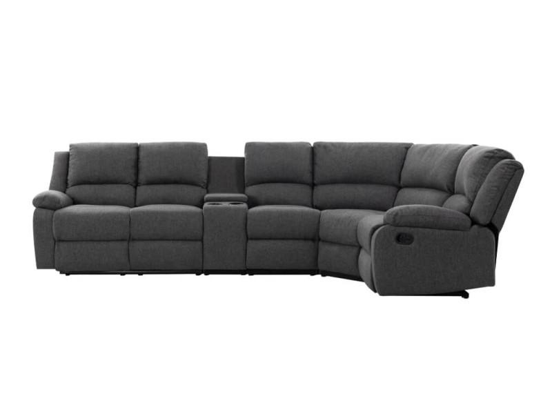 Canapé d'angle de relaxation 5 places detente en tissu gris - angle droit 9121LSTGRFD