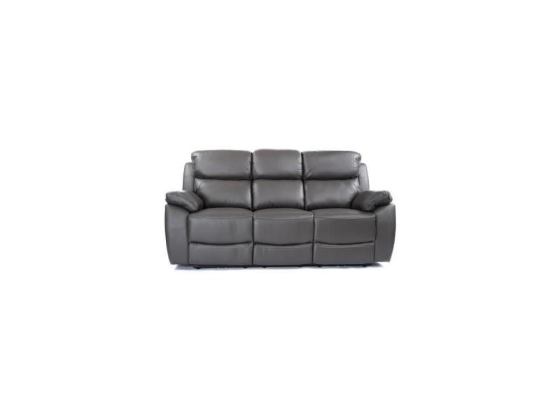 Canapé 3 places dont 2 relax électrique - cuir et simili gris - marseille MARSEILLECECGR3