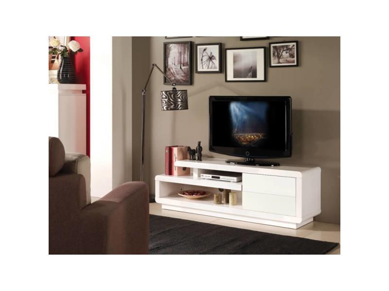 Meuble Tv Design Blanc Brillant Lydia Vente De Matel Pro Conforama