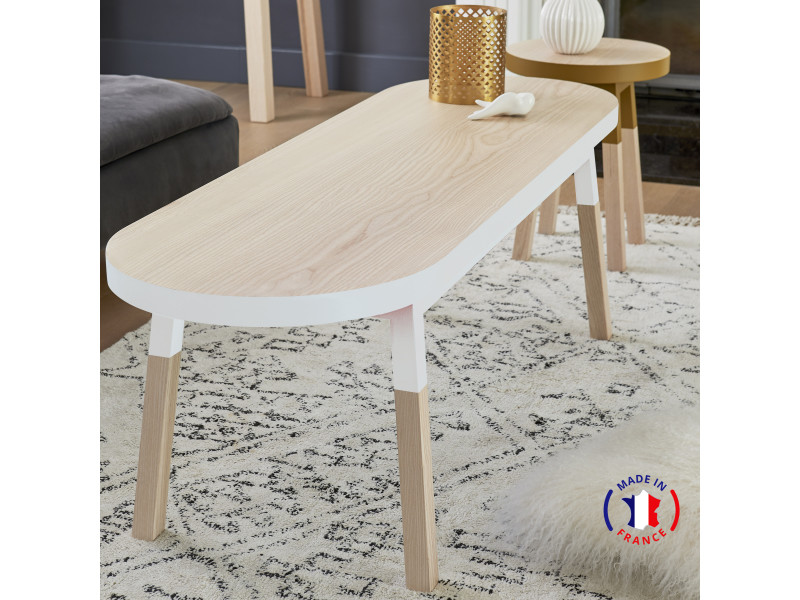 Table basse banc, 100% frêne massif 140x45 cm blanc balisson - 100% fabrication française