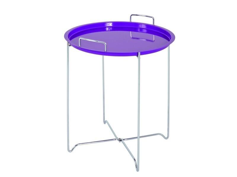 Distingué nuancemeuble table d'appoint maputo chromé-violet h51 ø45 cm