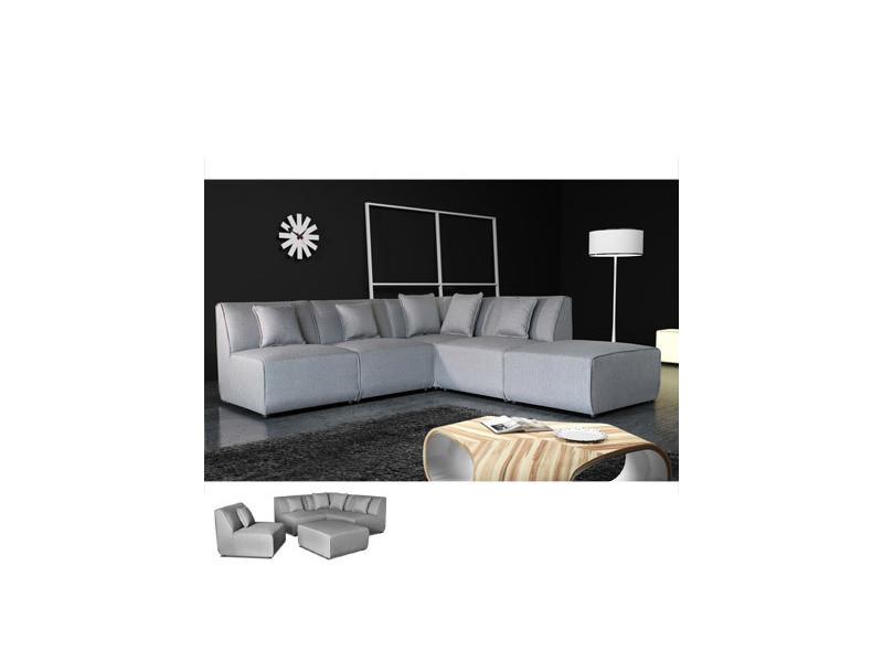 Canapé d'angle + 1 place + 1 pouf en tissu gris perle