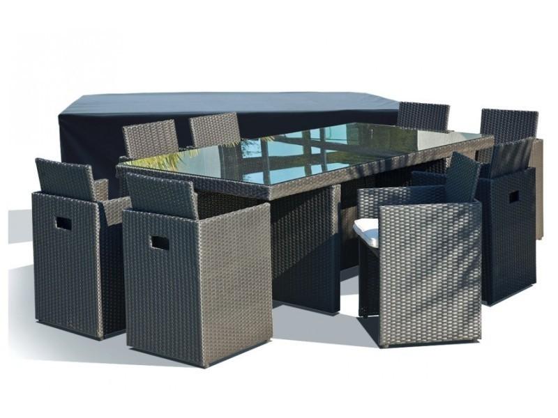 02958e1a1921d9 Salon de jardin avec 8 fauteuils encastrables noirs et housse de protection  - Vente de Ensemble table et chaises de jardin - Conforama