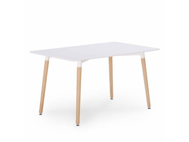 Lyla - table en bois laquée blanc