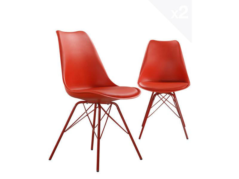 Kayelles chaise design métal step avec coussin (rouge) 296