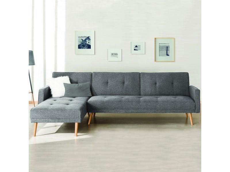 Canapé d'angle convertible helge réversible gris clair scandinave