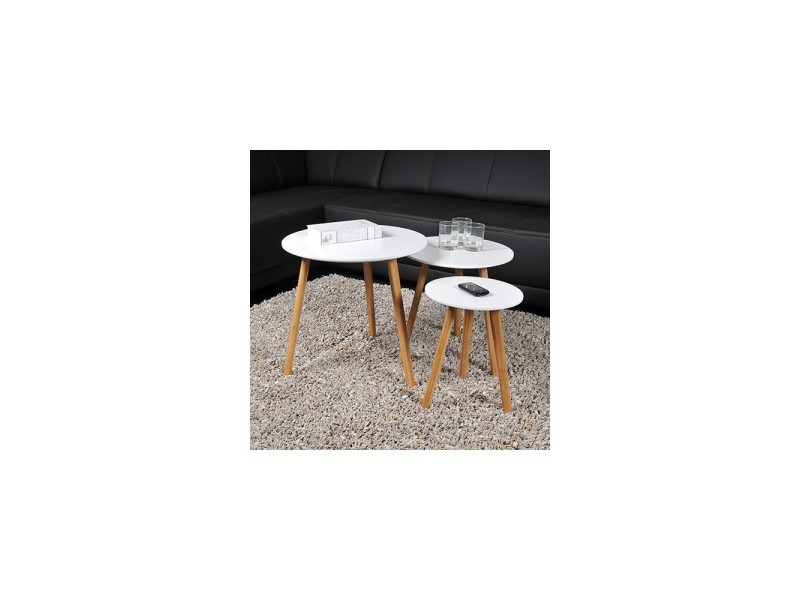 Lot De 3 Tables Basses Gigognes Venus Blanc Vente De Non