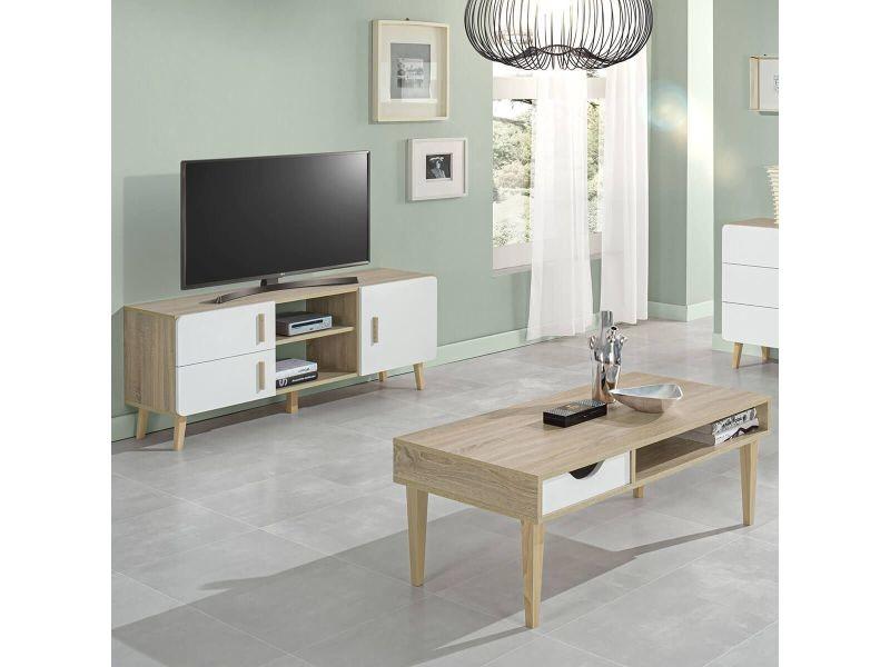 Aneby - ensemble table basse et meuble tv effet bois