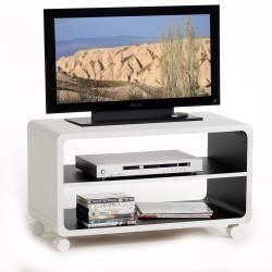 Meuble tv étagère panneau de bois blanc noir