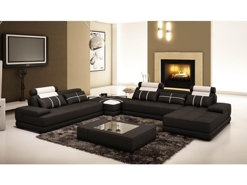 Canapé d'angle cuir noir et blanc design alix-