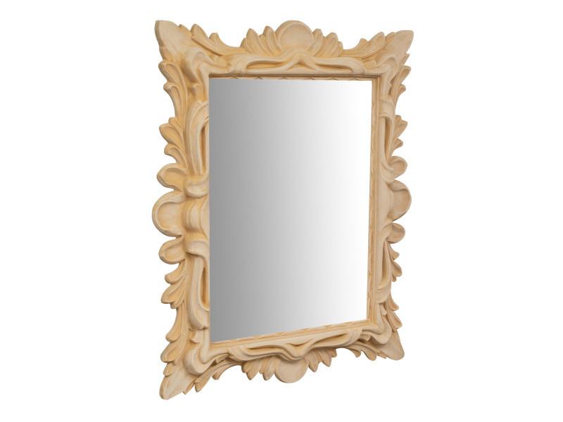 Miroir, long miroir mural rectangulaire, à accrocher au mur, horizontal et vertical, shabby chic, salle de bain, chambre à coucher, cadre finition brute, grand, long, l115xp10xh145 cm. Style shabby chic.