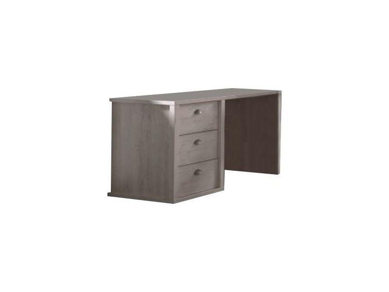 Bureau moderne 132cm 3 tiroirs coloris chêne clair conforama