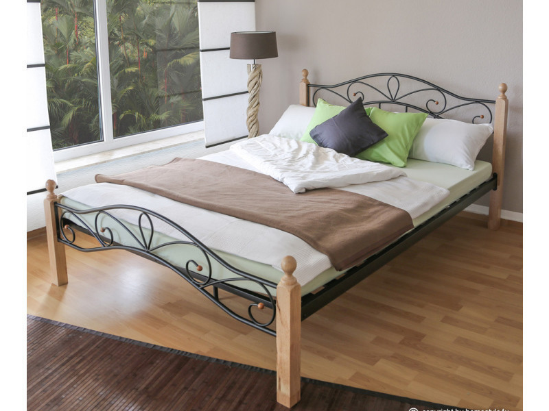 Lit design en métal noir et bois naturelle, 160 x 200 cm -pegane-