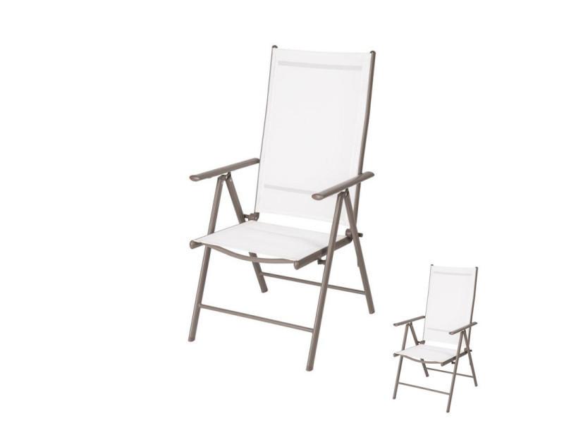 Duo de fauteuils multi-positions textilène/métal - maafushi - l 50 x l 50 x h 103 - neuf