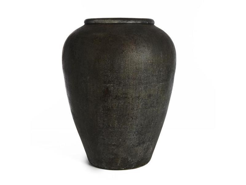 Vase terracota brun fonce/noir h37cm