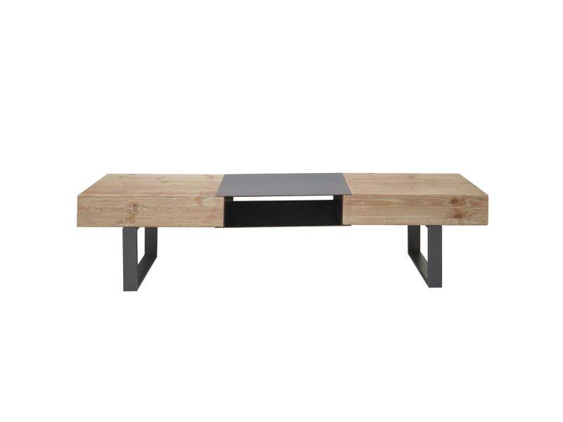 Meuble de t l vision hwc a15 table basse tv sapin massif rustique 46x180x41cm vente de - Meuble tv sapin massif ...