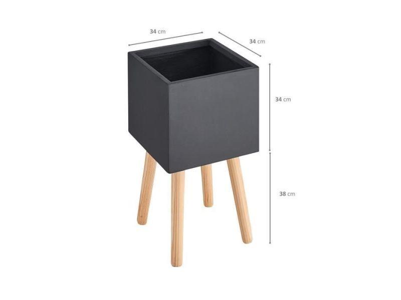 Cache-pot pot carré sur pieds en bois - 30 x 30 x 50 cm - pieds: 40 cm - noir
