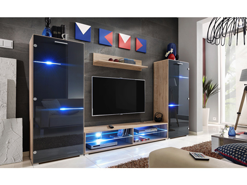 Ensemble tv turfu gris/bois avec led rgb 280 cm pour tv et box