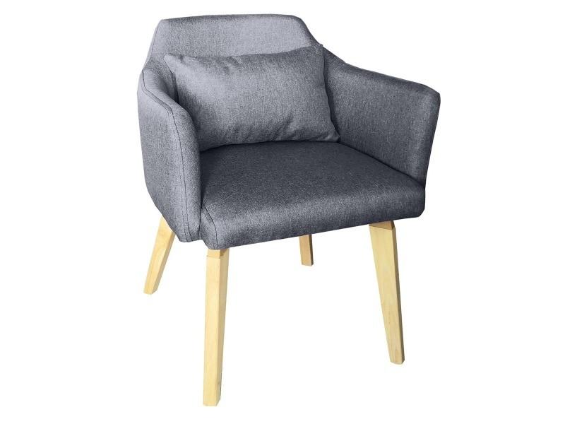 Chaise / fauteuil scandinave shaggy tissu gris foncé