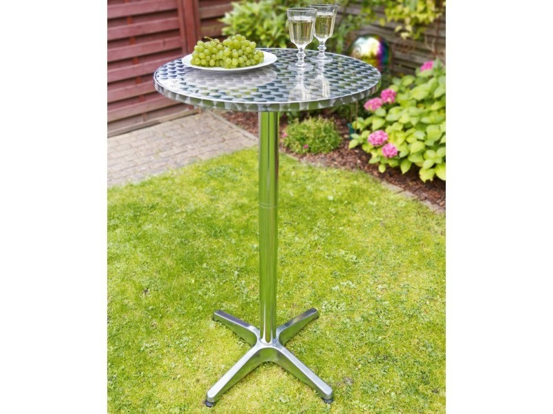 Icaverne - tables de jardin serie hi table de bistro-bar pliable aluminium rond 60 x 60 x (58-115) cm