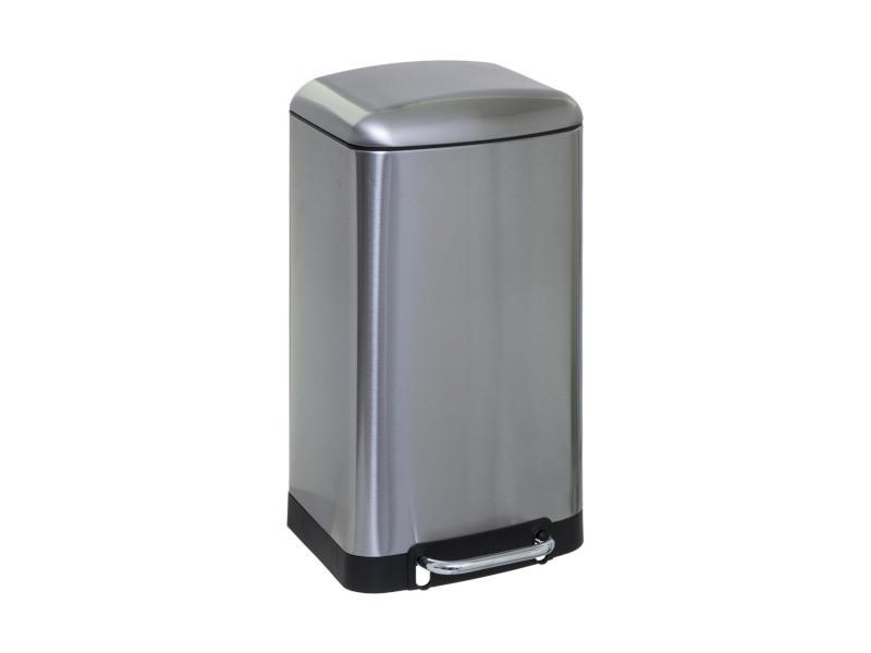 Five - poubelle en métal 30 litres coloris inox ouverture à pédale