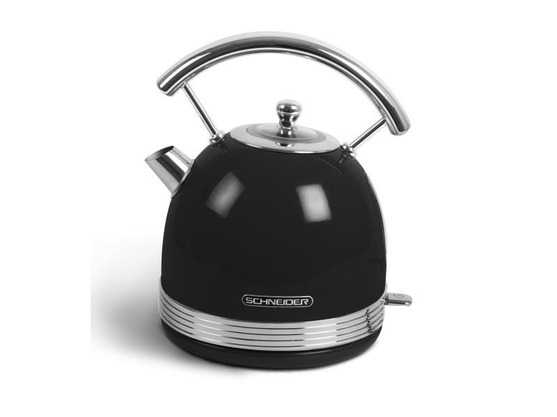 Schneider - scke17gb - bouilloire vintage - 1,7 litres - 2200 watts - socle pivotant - coloris noir brillant