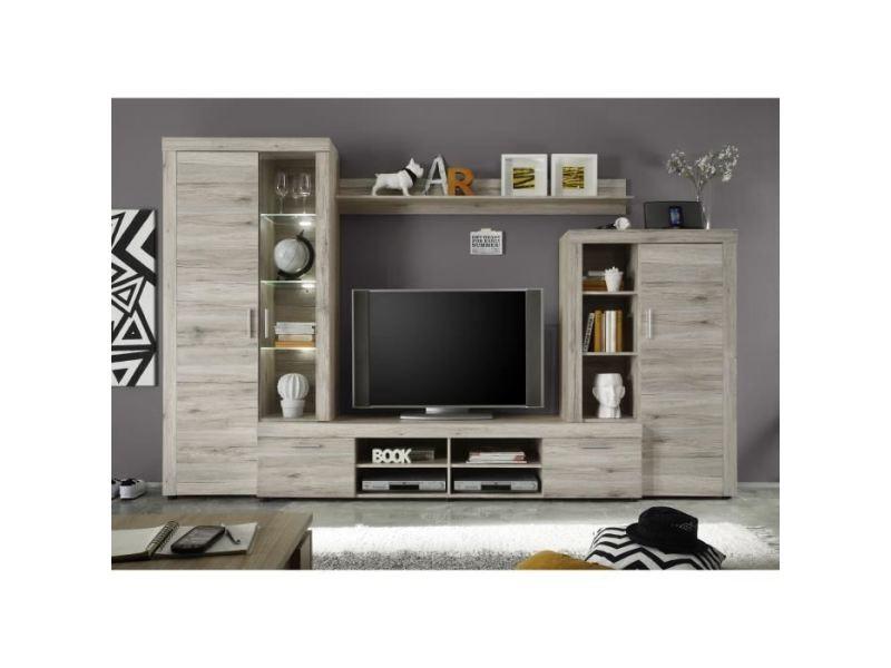 Meuble tv - meuble hi-fi fiesta meuble tv mural avec led contemporain mélaminé décor chene sablé - l 301 cm