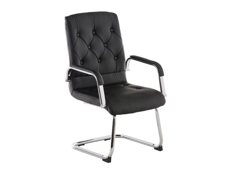 fauteuil chaise de bureau ergonomique sans roulette en simili cuir noir bur10042 vente de. Black Bedroom Furniture Sets. Home Design Ideas