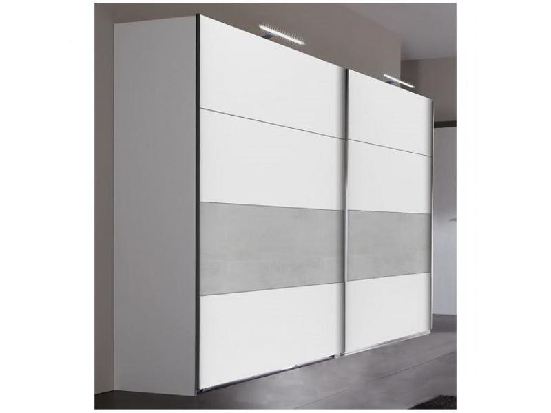 Armoire de rangement 2 portes coulissantes angela 225 cm blanc / gris clair 20100890962