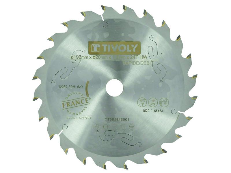 Lame scie circulaire à bois ø190mm tivoly 24 dents alesage ø20mm bague ø16mm acier carbure coupe ultra rapide bois