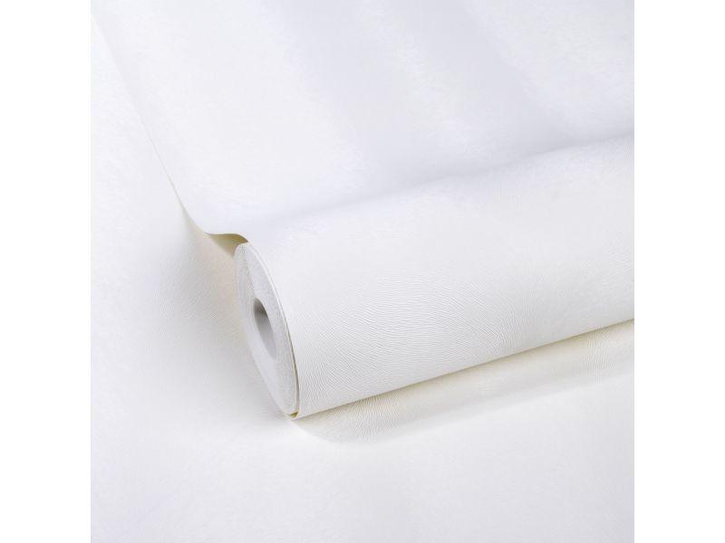 Papier peint intissé uni peau 1005 x 52cm blanc 5673551