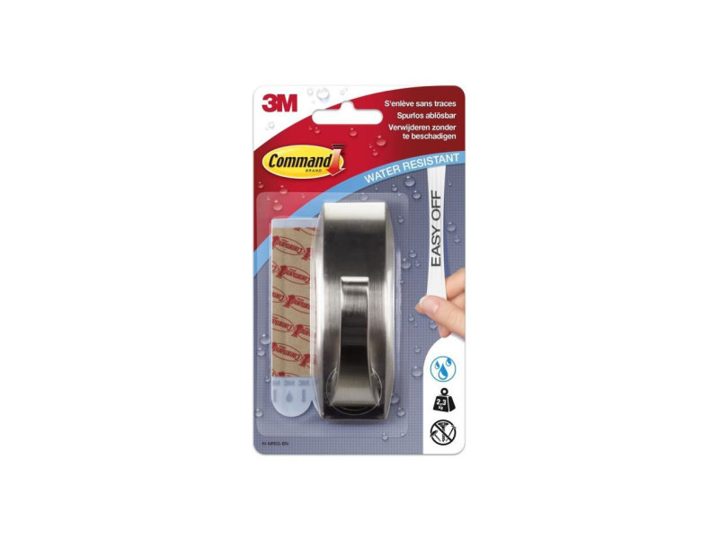 3m command grand crochet moderne - acier brillant
