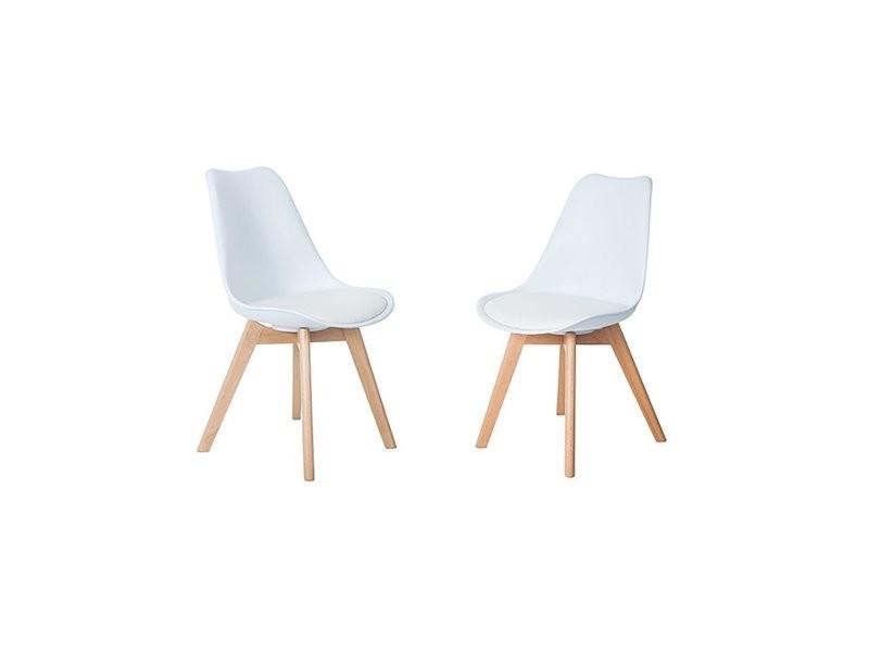 Lot de 2 chaises design contemporain nordique scandinave -tulipe chaises- pieds en bois de hêtre massif - blanc