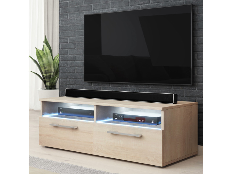 Meuble Tv Silver 100 Cm Chene Sonoma Clair Avec Led Vente De Meuble Tv Conforama