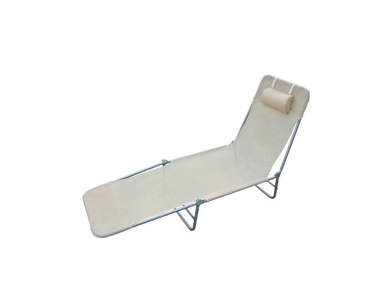 Chaise longue pliante bain de soleil inclinable transat ...