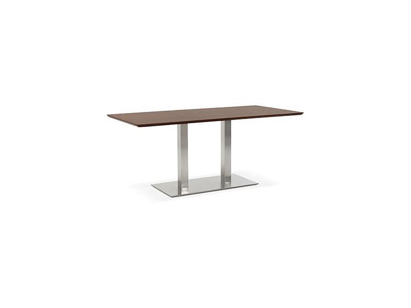 Table à manger design 180 cm en bois foncé et métal - lotus