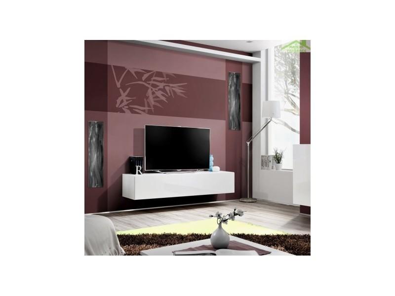 Grand meuble tv fly à suspendre 160x30x40cm - corps blanc mat/ front blanc de haute brillance 23 WW FY 30