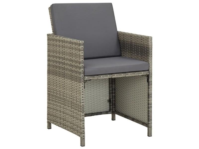 Vidaxl chaises de jardin 2 pcs avec coussins résine tressée gris 311907