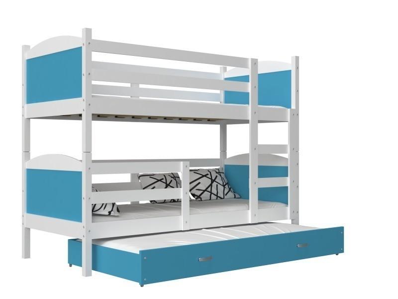 Lit Superposé 3 Places Mateo 190x90 Blanc Bleu Livré Avec Tiroir 3